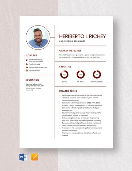 Engineering Specialist Resume
