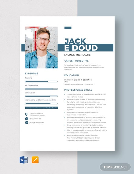 Engineering Teacher Resume Template