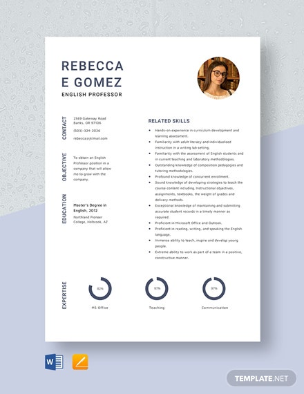 English Professor Resume Template