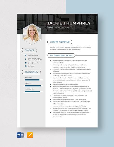 Enrollment Specialist Resume Template