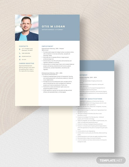 Entertainment Attorney Resume Download