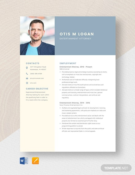 Entertainment Attorney Resume Template