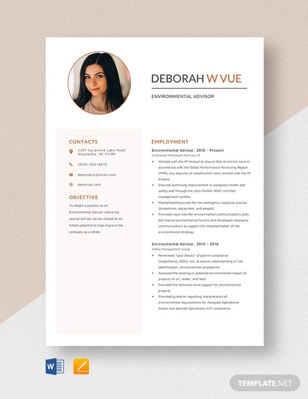 Environmental Advisor Resume Template