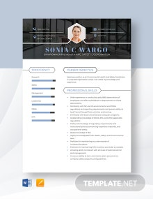 Environmental Health And Safety Coordinator Resume Template