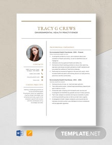 Environmental Health Practitioner Resume Template