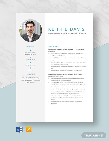 Environmental Health Safety Engineer Resume Template
