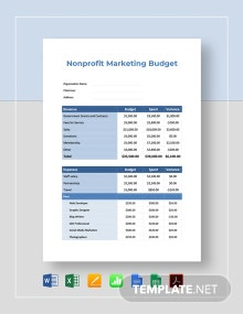 Free Non-profit Marketing Budget Template