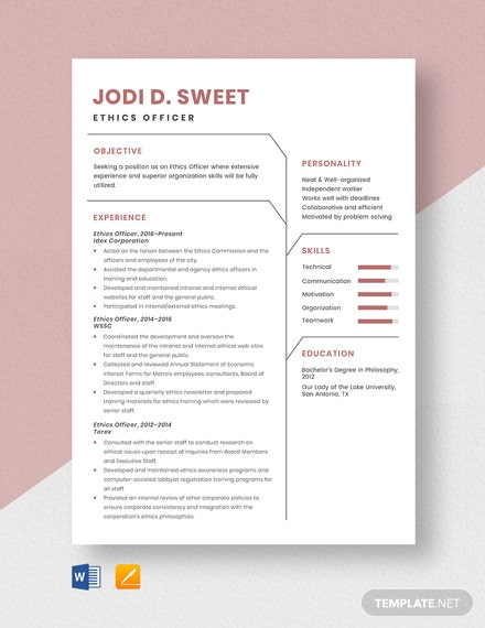 Ethics Officer Resume Template