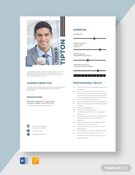 Event Director Resume Template