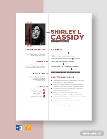 Event Manager Resume Template
