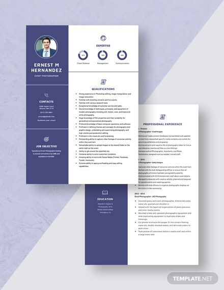 Event Photographer Resume Download