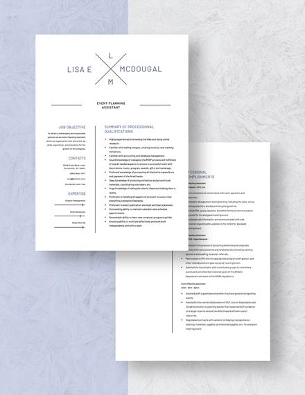 Event Planning Assistant Resume Download