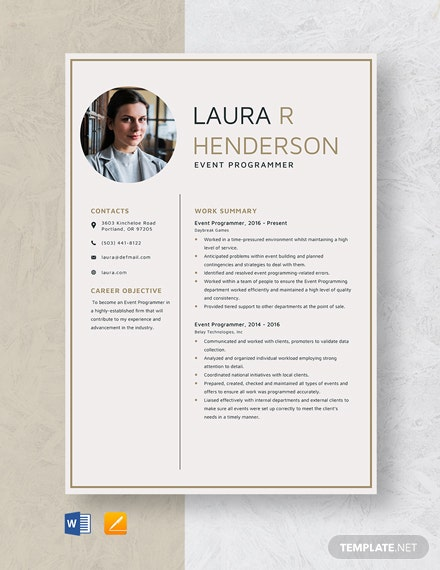 Event Programmer Resume Template