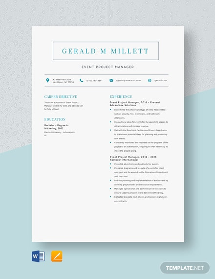 Event Project Manager Resume Template