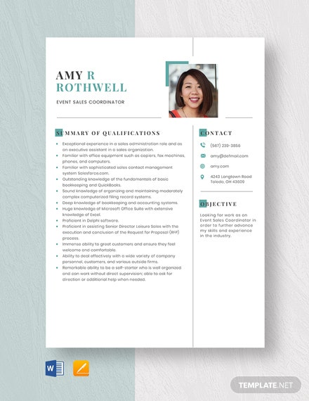 Event Sales Coordinator Resume Template