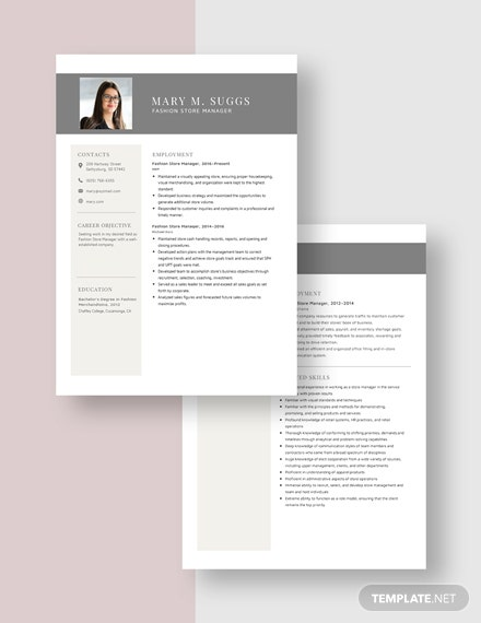 Fashion Store Manager Resume Download