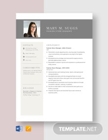 Fashion Store Manager Resume Template