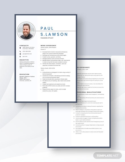 Fashion Stylist Resume Download