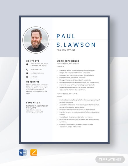 Fashion Stylist Resume Template