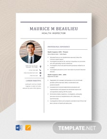 Health Inspector Resume Template