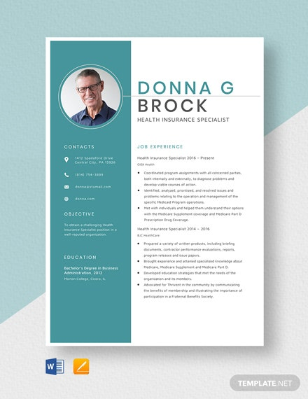 Health Insurance Specialist Resume Template
