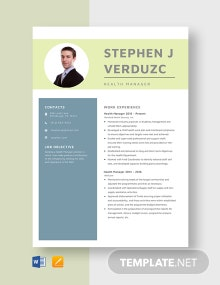 Health Manager Resume Template