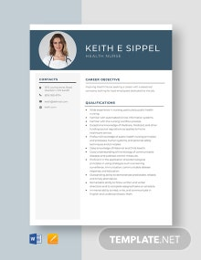 Health Nurse Resume Template