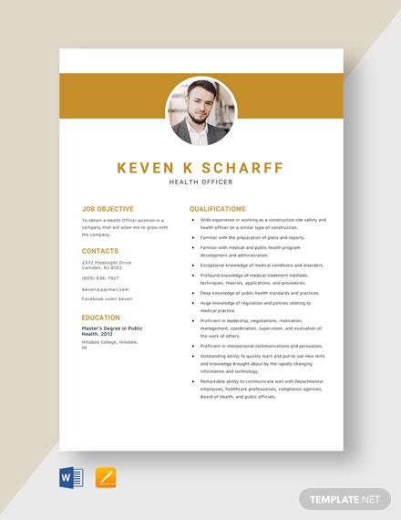 Health Officer Resume Template