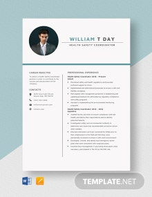 Health Safety Coordinator Resume Template