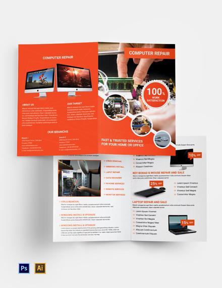 Free Computer Repair Bi-Fold Brochure Template