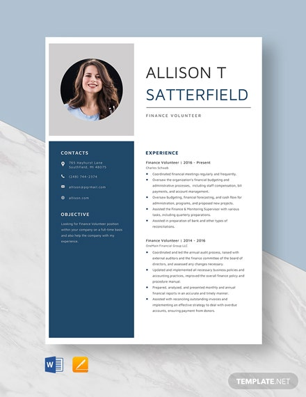 Finance Volunteer Resume Template