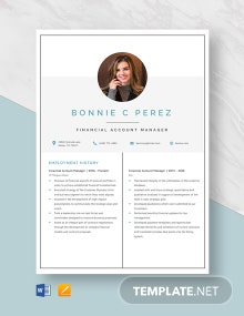 Financial Account Manager Resume Template