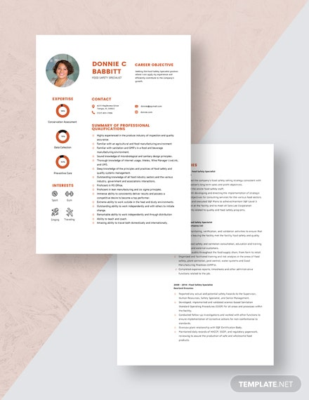 Food Safety Specialist Resume Download