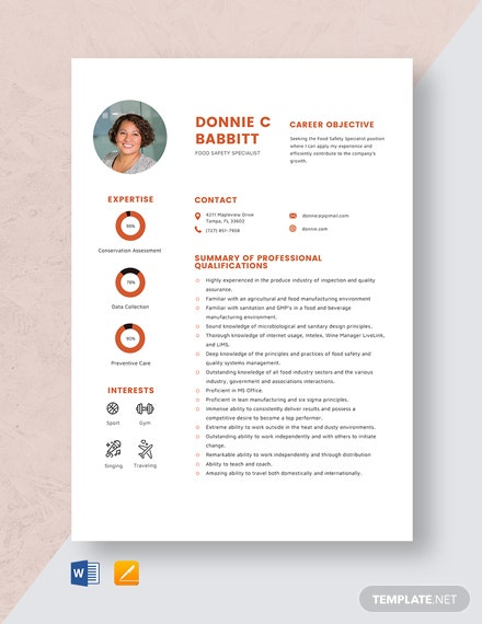 Food Safety Specialist Resume