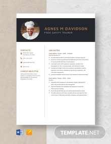 Food Safety Trainer Resume Template
