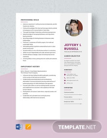 Food Sales Representative Resume Template