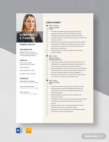 Forensic Analyst Resume Template