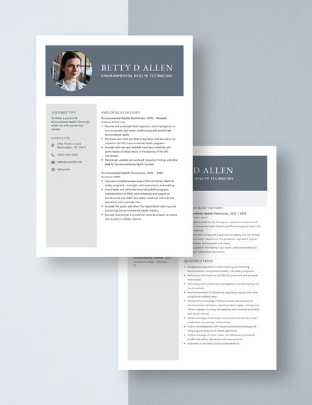 Environmental Health Technician Resume Download