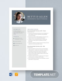 Environmental Health Technician Resume Template