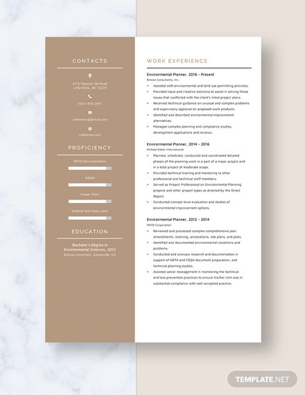 Environmental Planner Resume Template