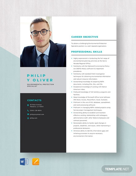 Environmental Protection Specialist Resume Template