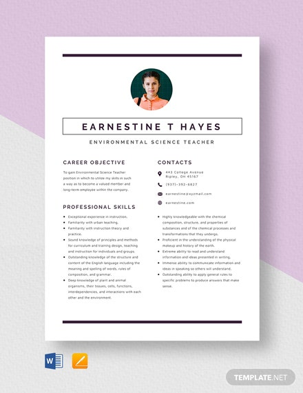 Environmental Science Teacher Resume Template