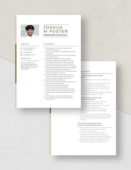 Environmental Specialist Resume Download