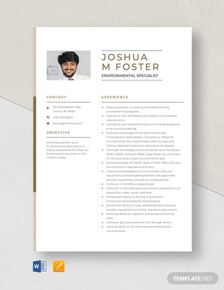 Environmental Specialist Resume