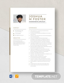 Environmental Specialist Resume Template