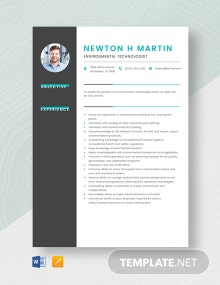 Environmental Technologist Resume Template