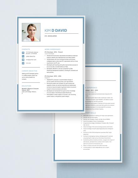 ETL Developer Resume Download