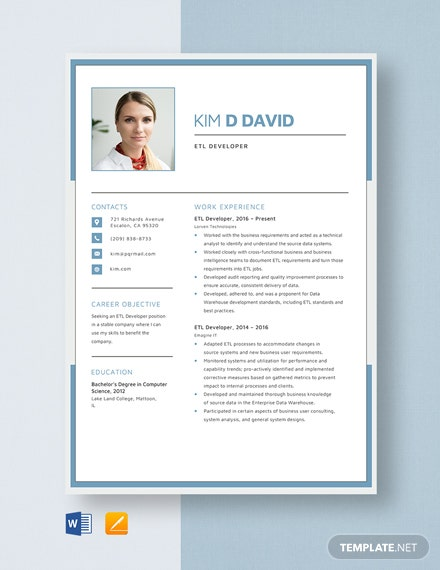 ETL Developer Resume Template
