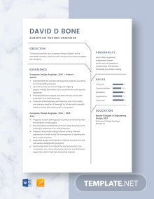 European Design Engineer Resume Template
