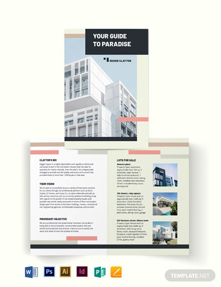 Professional Real Estate Broker Agent/Agency Bi-Fold Brochure Template